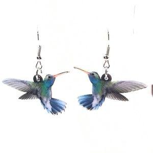 Hummingbird Acrylic Pierced Earrings Silver Hook